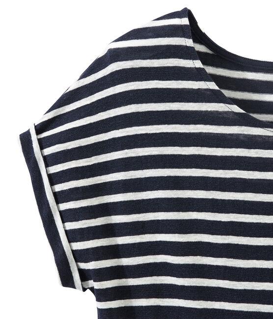 Women's striped linen tee Smoking blue / Lait white