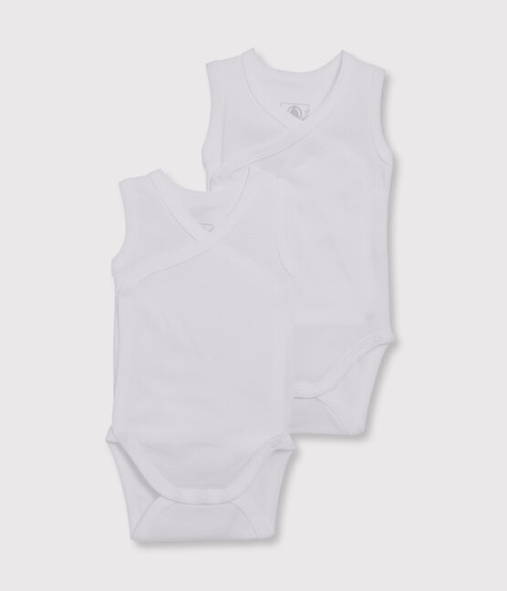 Set of 2 babies' white sleeveless newborn bodysuits . set