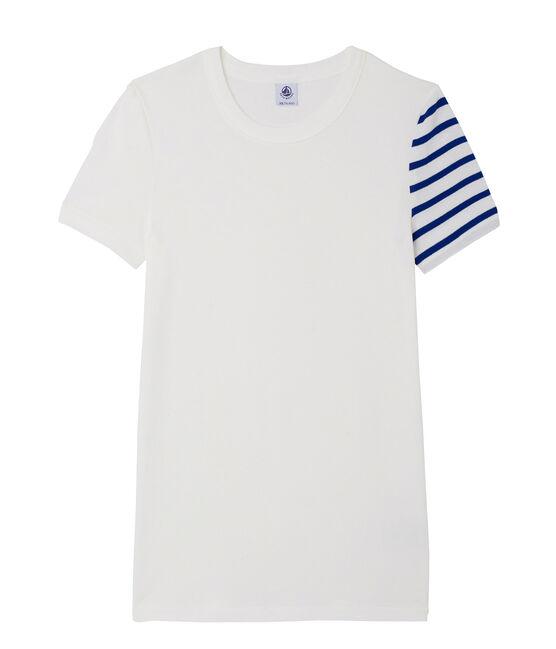 Women's decorative original rib T-shirt Ecume white