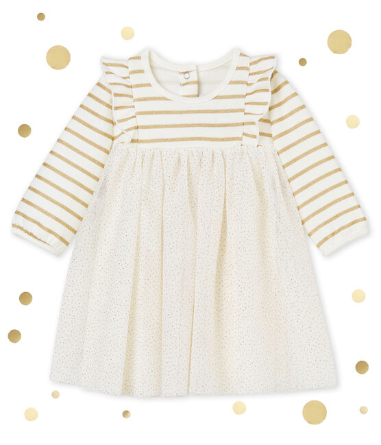 Baby girl's sparkly tulle dress Marshmallow white / Dore yellow