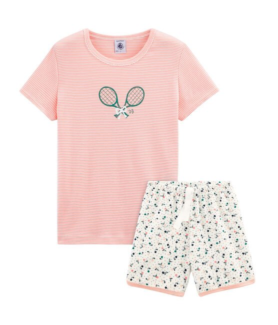 Girls' short Pyjamas in Brushed towelling Marshmallow white / Multico white