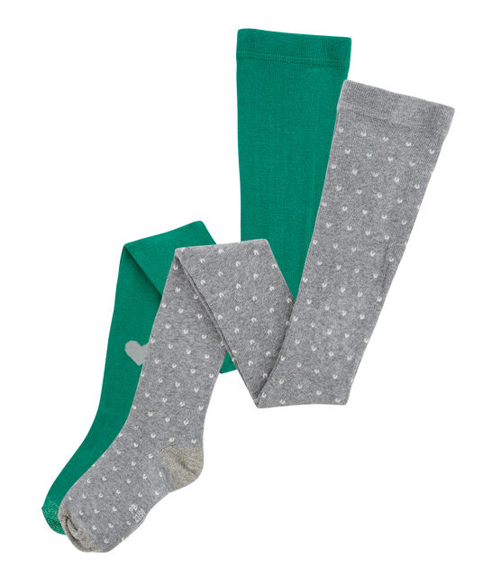 Girls' Tights - 2-Piece Set Subway grey / Ecology green