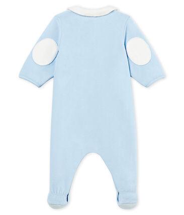 Baby boys' sleepsuit in plain cotton velour Fraicheur blue