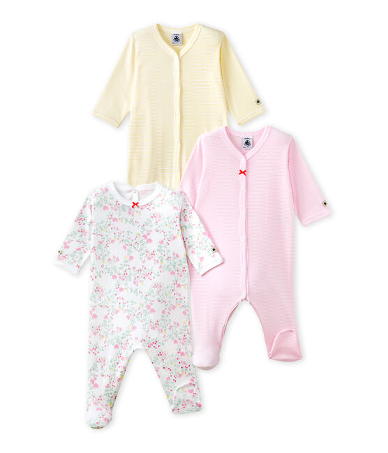 Set of three baby girl's sleepsuits . set
