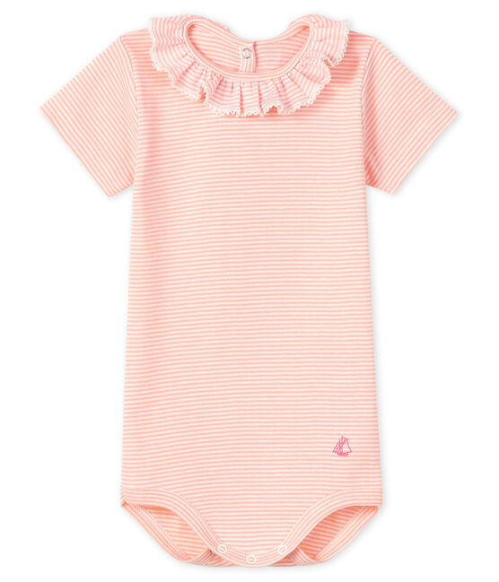 Baby girls' bodysuit with ruff Patience pink / Marshmallow white