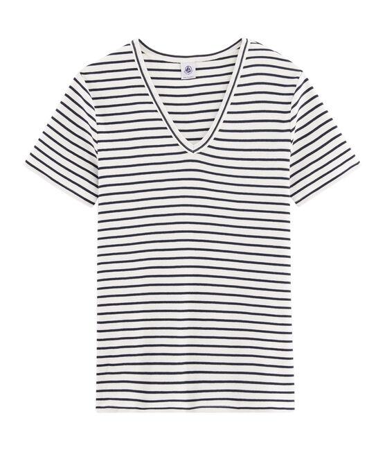 Women's Iconic T-Shirt Marshmallow white / Smoking blue