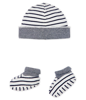 Baby Boys' Ribbed Bonnet and Bootees Set . set