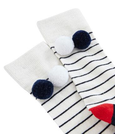 Girls' High Socks Marshmallow white / Smoking blue