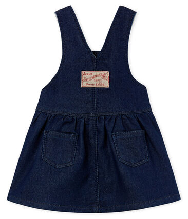 Baby girls' dungaree dress in denim look jersey