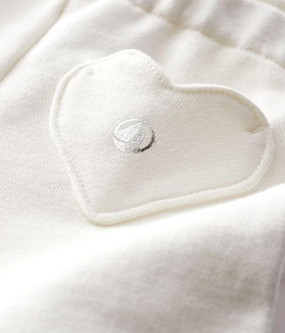 Baby girl's fleece leggings Marshmallow white