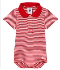 Baby boys' mc pinstriped bodysuit with polo shirt collar