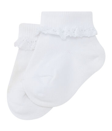 Girls' lace-trimmed socks