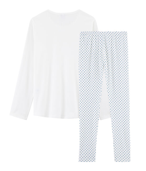Girls' Ribbed Pyjamas Marshmallow white / Contes blue