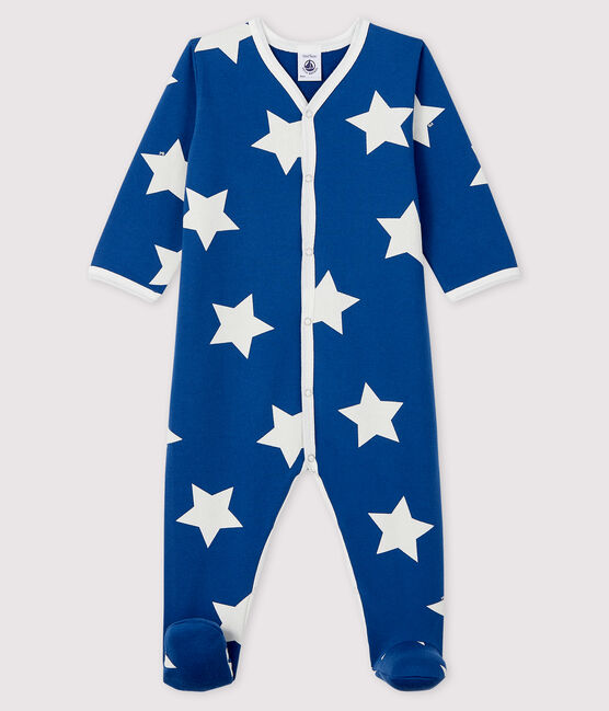 Babies' Blue Starry Fleece Sleepsuit Major blue / Ecume white