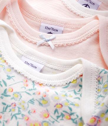 Baby girls' short-sleeved pastel bodysuit - Set of 3 . set