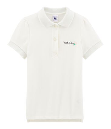 Girls' Short-sleeved Polo Shirt Marshmallow white
