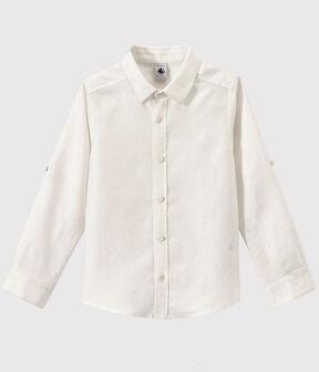 Boys' Poplin Shirt Ecume white