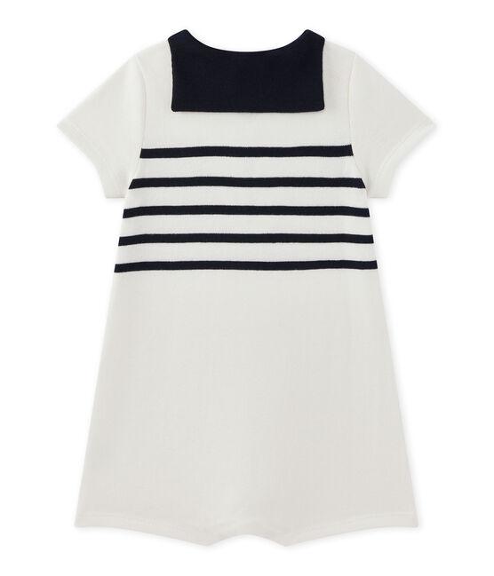 Baby boy's short-sleeved romper Marshmallow white / Smoking blue