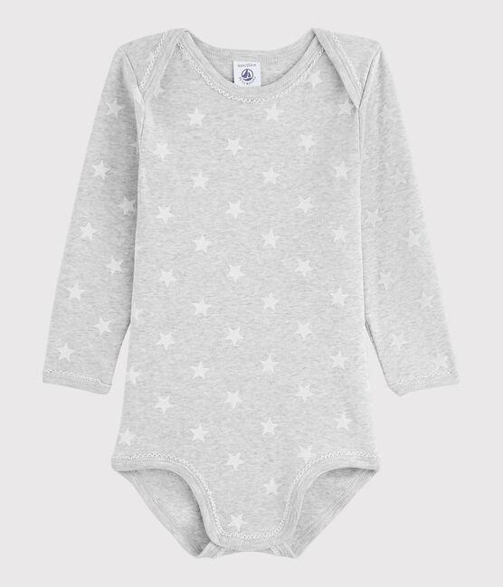 Baby Girls' Long-Sleeved Bodysuit Beluga grey / Marshmallow white