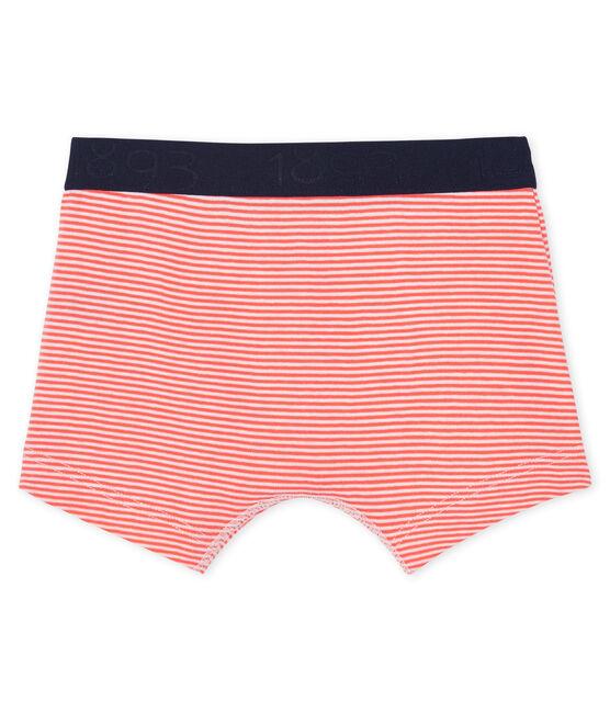 Boys' boxer shorts Orient orange / Marshmallow white
