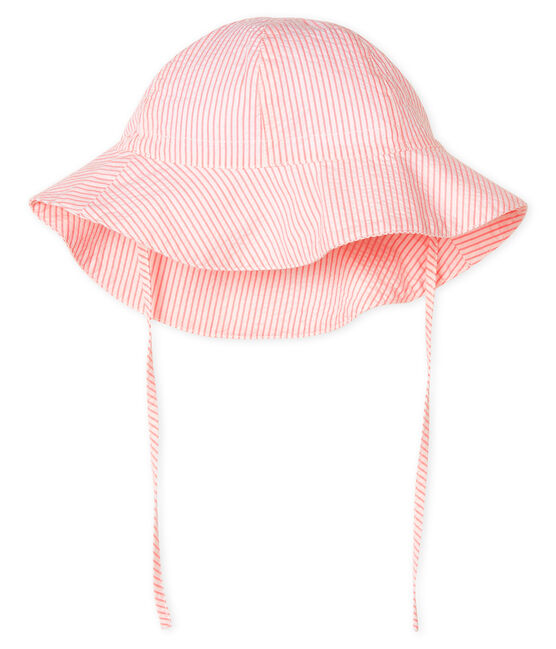 Wide-brimmed seersucker hat for baby girls Marshmallow white / Rosako pink