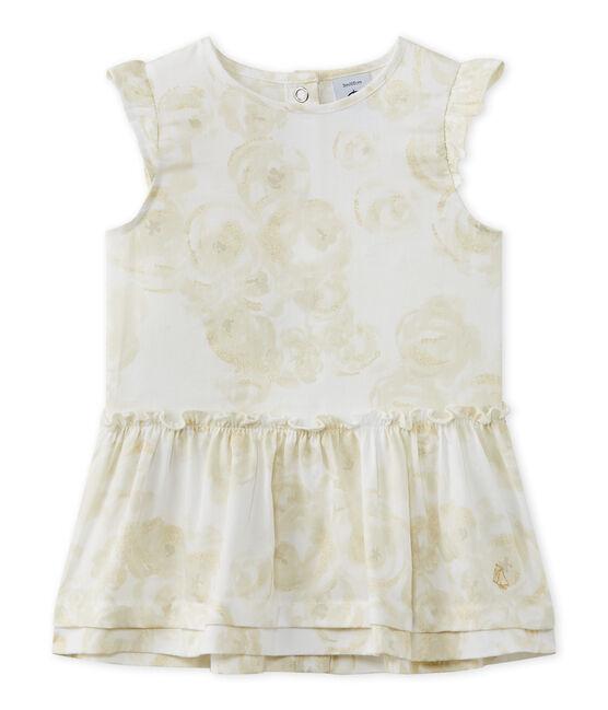 Baby girl's print satin dress Marshmallow white / Multico white