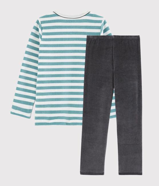 Pyjama ancre petit garçon en velours MARSHMALLOW/BRUME/MULTICO