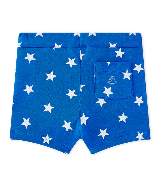 Baby boy's print shorts Perse blue / Marshmallow white