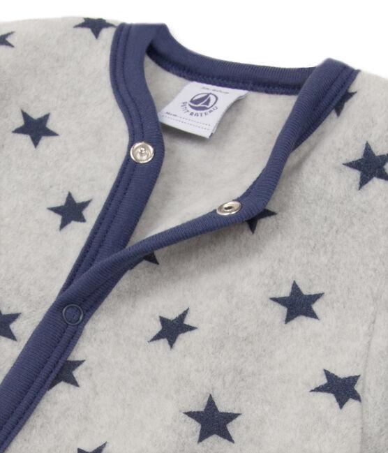 Baby boy's printed warm fleece coveralls Subway grey / Logo blue