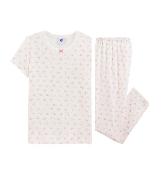 Girls' Ribbed Floral Pyjamas Marshmallow white / Gretel pink