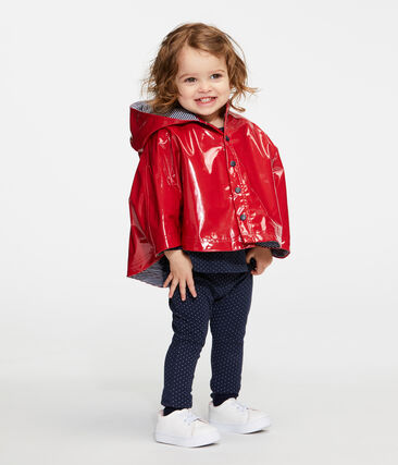 Baby Girls' Glossy Rain Cape Terkuit red