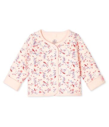 Babies' Quilted Tube Knit Cardigan Fleur pink / Multico white