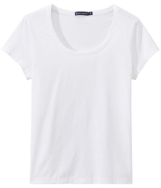 SCOOP NECK women's fine jersey tee Ecume white