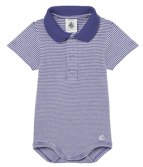 Baby boys' mc pinstriped bodysuit with polo shirt collar Riyadh blue / Marshmallow white