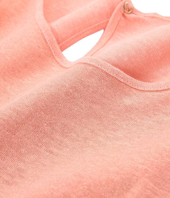 Women's iridescent linen sleeveless top Rosako pink / Copper pink