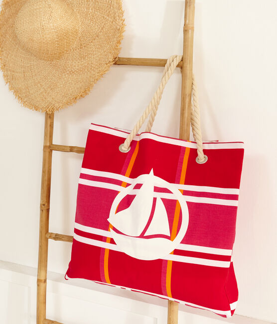Beach bag Geisha pink / Multico white