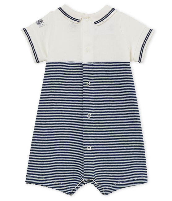 Baby boys' playsuit Medieval blue / Marshmallow white