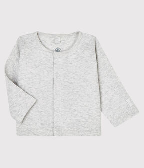 Babies' Organic Cotton 2x2 Rib Knit Cardigan Beluga grey