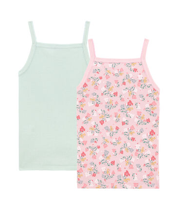 Little girl's strap vest duo