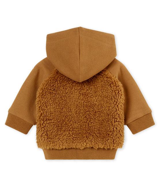 Baby boy's hooded sherpa sweatshirt Brindille brown