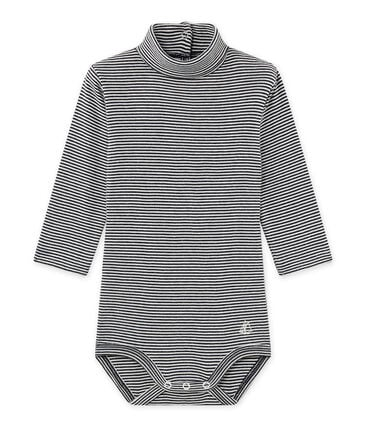 Baby's unisex bodysuit with milleraies-striped roll neck Smoking blue / Coquille beige