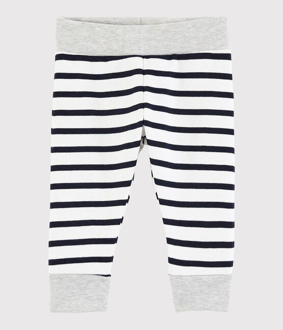 Baby boy's striped trousers Marshmallow white / Smoking blue