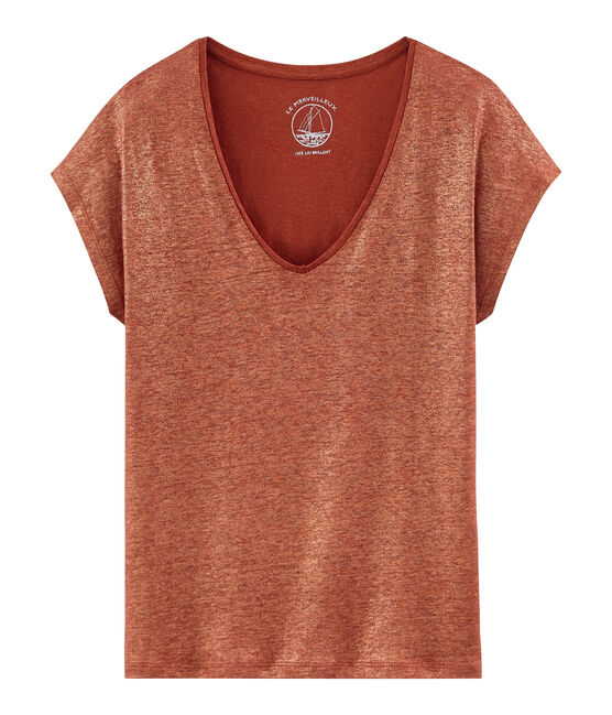 Women's iridescent linen short-sleeved t-shirt Ombrie orange / Copper pink