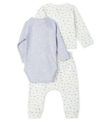 Unisex Baby's Tube Knit Clothing - 3-Piece Set Marshmallow white / Toudou blue
