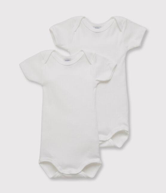 Set of 2 baby boys' short-sleeved white bodysuits . set