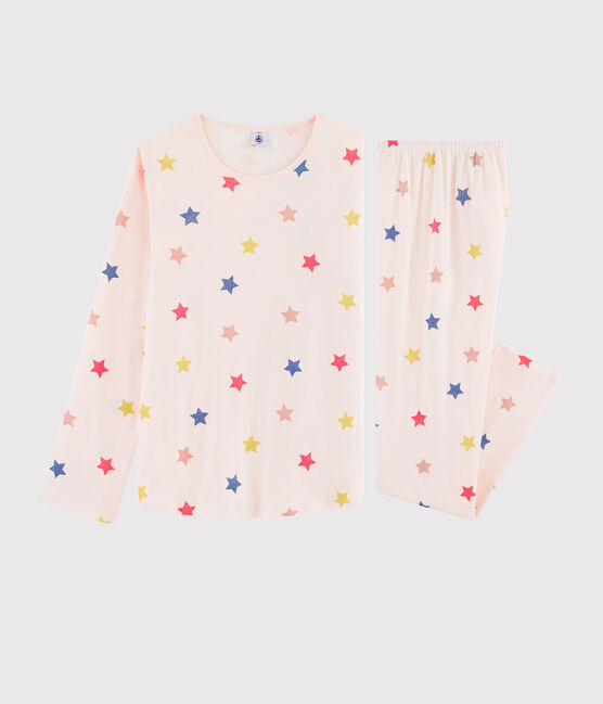Girls' or Women's Starry Print Ribbed Pyjamas Fleur pink / Multico white