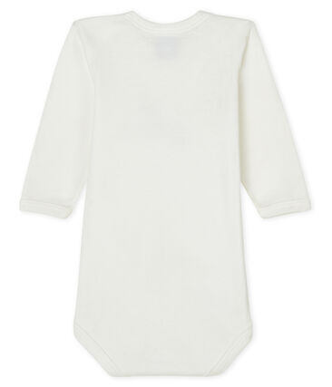Babies' long-sleeved bodysuit Lait white / Smoking blue