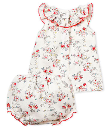 Baby girls' printed dress and bloomers