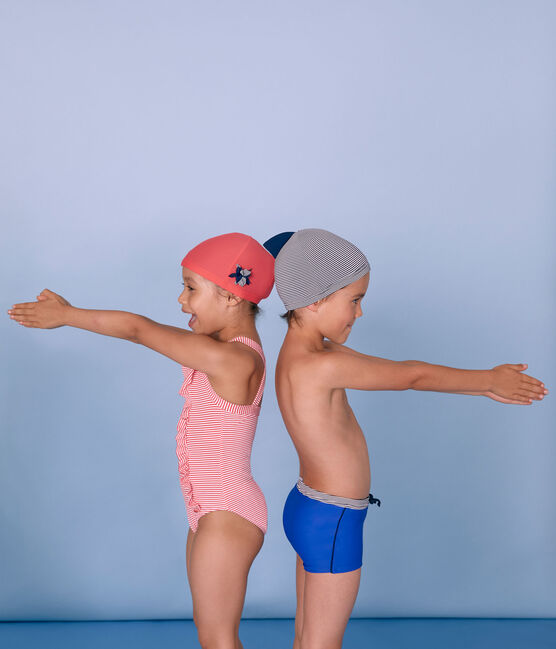 Boys' Swimming Cap Abysse blue / Lait white