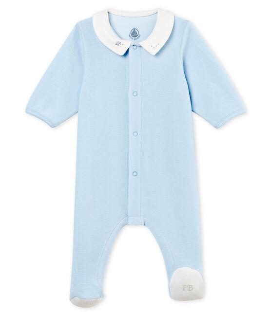 Baby boys' sleepsuit in plain cotton velour FRAICHEUR